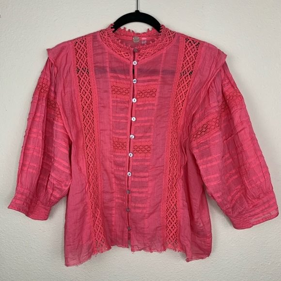 Free People Sheer Cotton Deep Pink Top